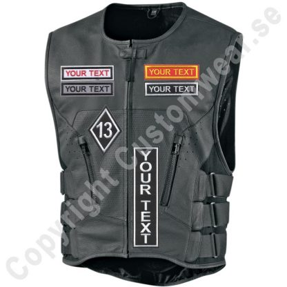 biker vest with embroidered diamond patch